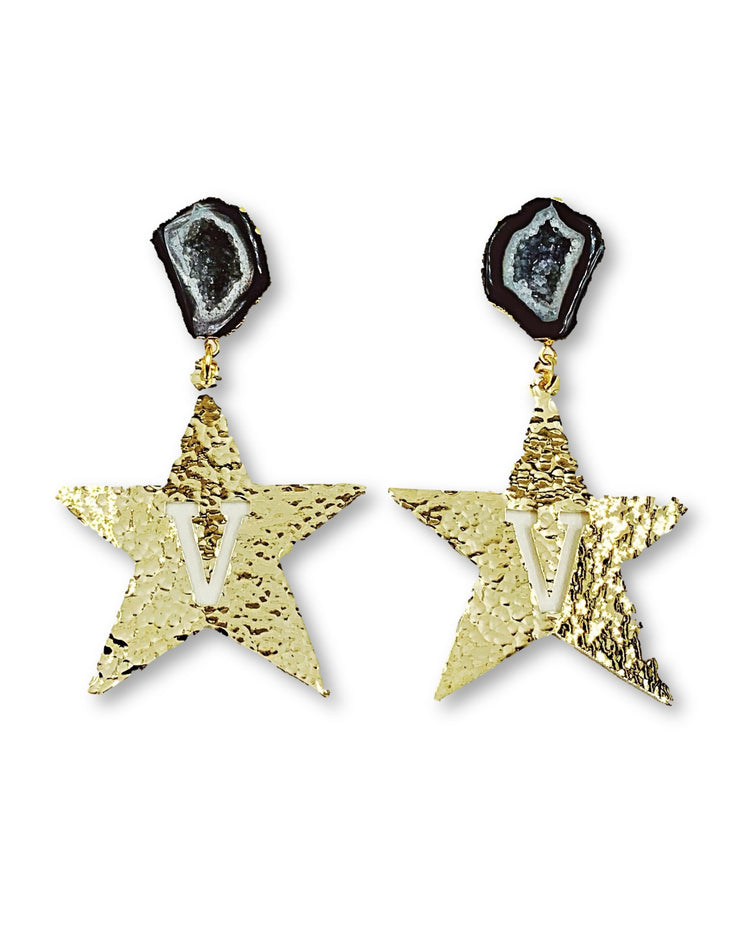 Vanderbilt Gold Star Earrings with Black Geode