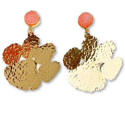 Clemson Gold Paw Earrings with Orange Druzy