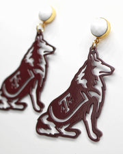 Texas A&M Maroon Reveille Earrings with White Agate