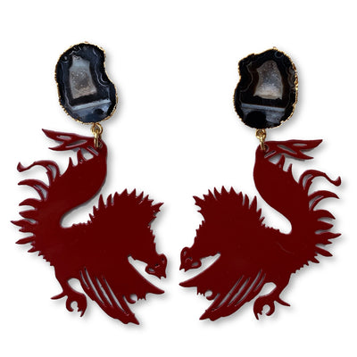 South Carolina Garnet Gamecock Earrings with Black Geode