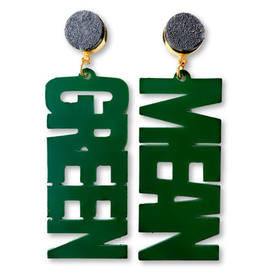 "UNT Green ""MEAN GREEN"" Earrings with Black Druzy"