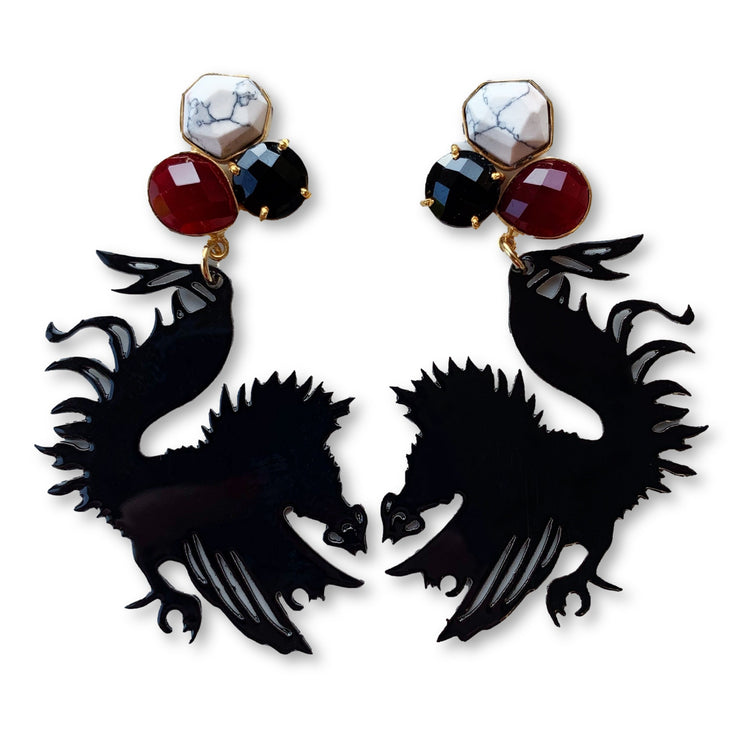 South Carolina Black Gamecock Earrings with 3 Gemstones