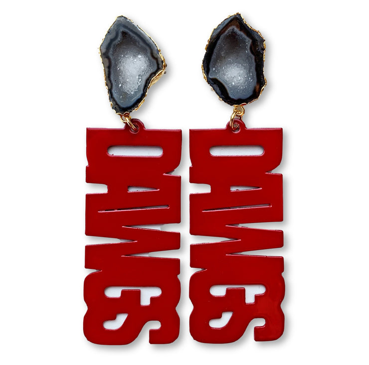 "Georgia Red ""DAWGS"" Earrings with Black Geode"