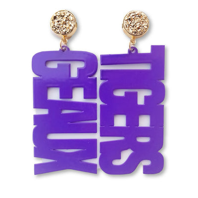 LSU Purple GEAUX TIGERS Earrings with Gold Druzy