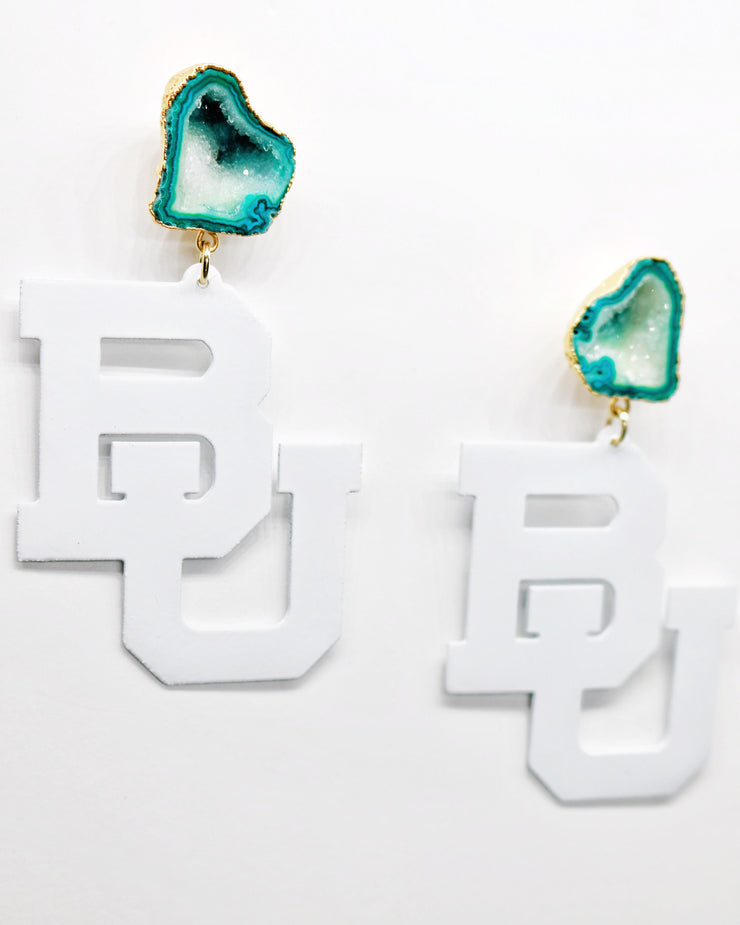 Baylor White BU Logo Earrings with Green Geode