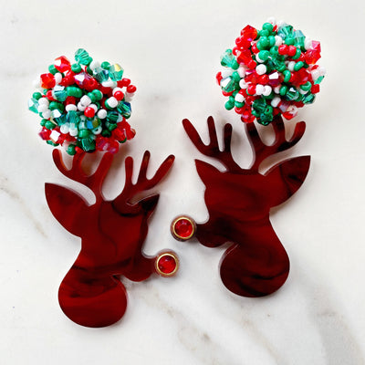 Christmas Party - Tortoise Rudolph Earrings
