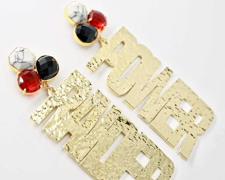 "Texas Tech Gold ""RAIDER POWER"" Earrings with 3 Gemstones"