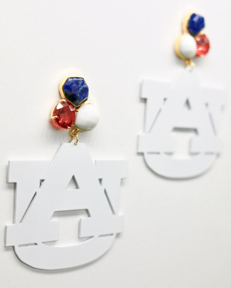 Auburn White Logo Earrings with 3 Gemstones
