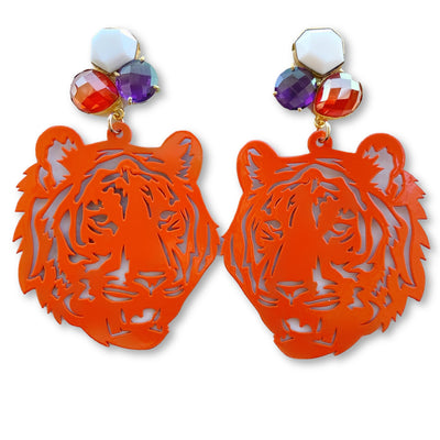Clemson Orange Tiger Earrings with 3 Gemstones