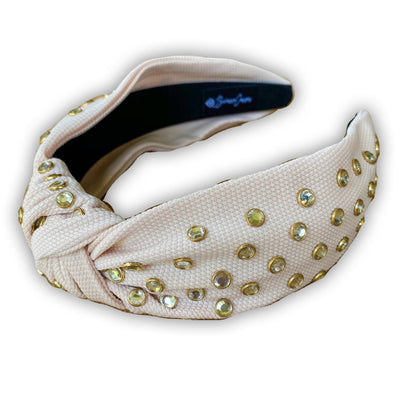 Tan Twill Knotted Headband with White Crystals