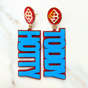 Ole Miss - Powder Blue Hotty Toddy Earrings over Red Glitter with Large Red Glitter Logo Top