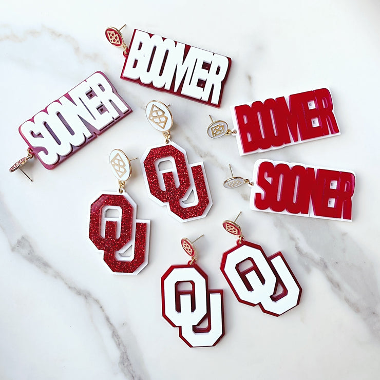 University of Oklahoma - Crimson Glitter BOOMER SOONER Earrings over White with Large White Logo Top