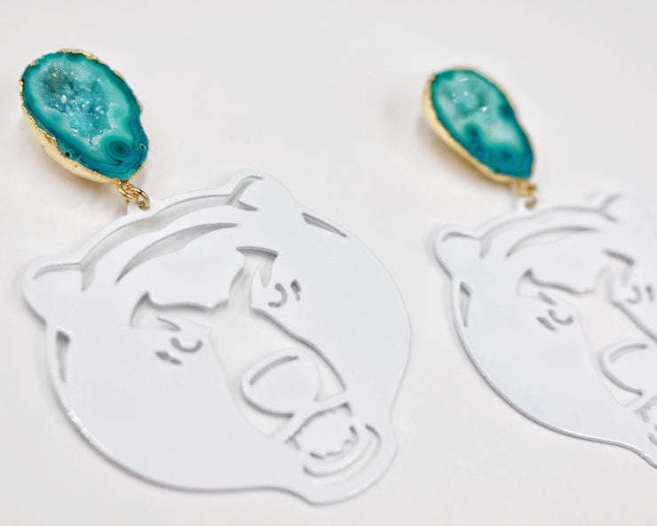 Baylor White Bear Earrings with Green Geode