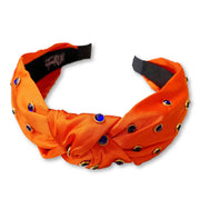 Team Colors Orange Knotted Headband with Blue Crystals