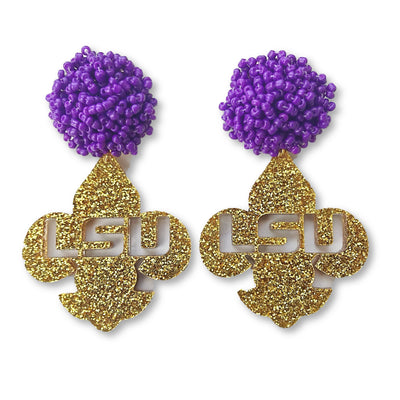 LSU Gold Glitter Acrylic Fleur de Lis with Purple Beaded Top