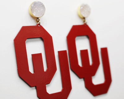 OU Crimson Logo Earrings with White Druzy