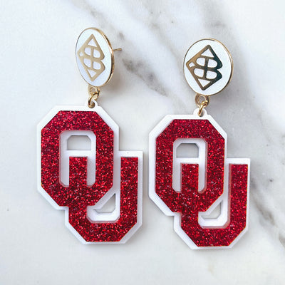 University of Oklahoma - Crimson Glitter OU Earrings over White with Large White Logo Top
