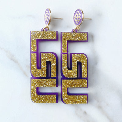 LSU - Gold Glitter LSU Earrings over Purple with Purple Logo Top