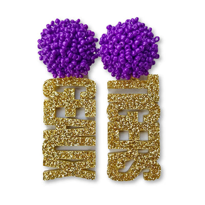 LSU Gold Glitter Acrylic GEAUX TIGERS with Purple Beaded Top