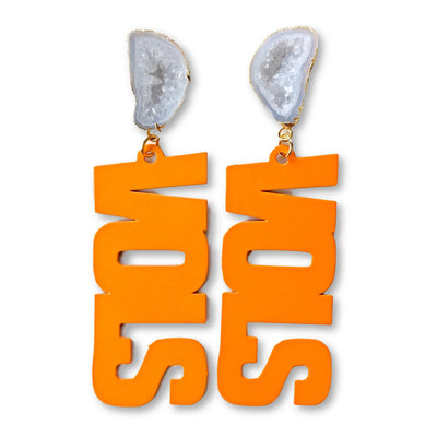 "Tennessee Orange ""VOLS"" Earrings with White Geode"