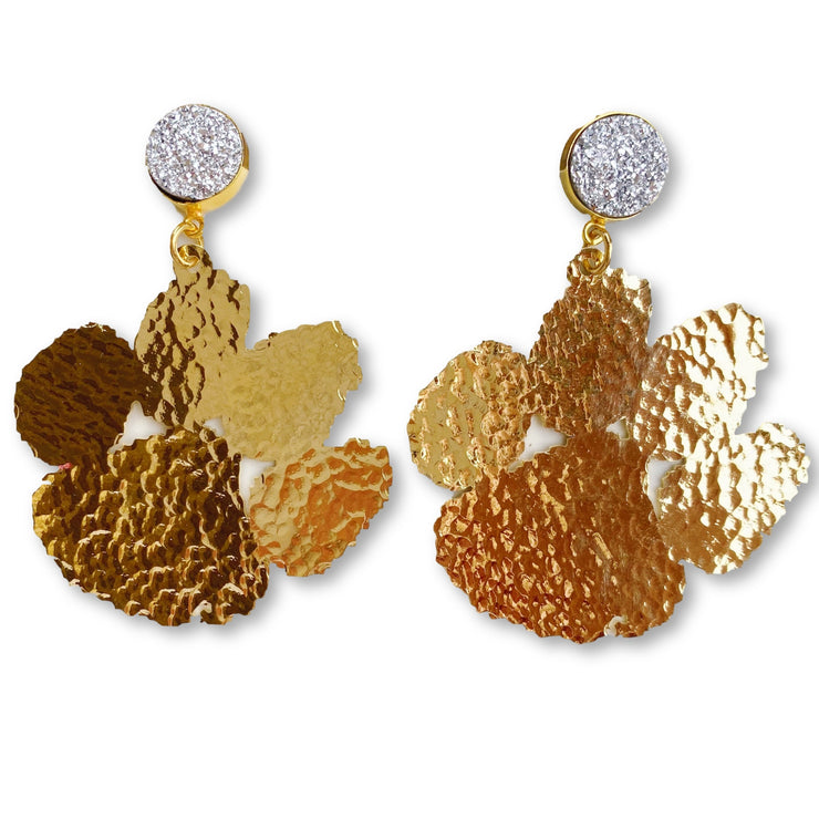 Clemson Gold Paw Earrings with Silver Druzy