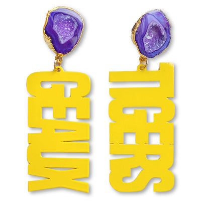 LSU Yellow GEAUX TIGERS Earrings with Purple Geode