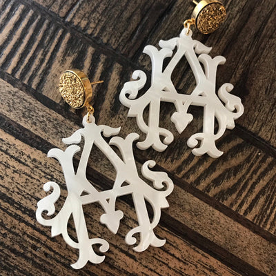 Heirloom 2-Letter Monogram Earrings with Druzy Stud