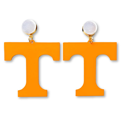 Tennessee Orange T Logo Earrings with White Druzy