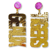 LSU Gold GEAUX TIGERS Earrings with Purple Druzy