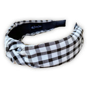 Black Gingham Check Knotted Headband