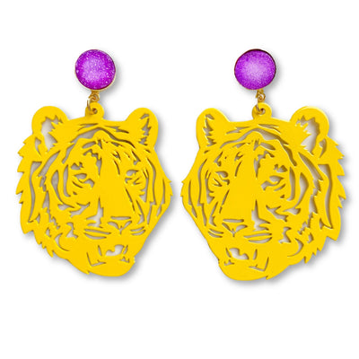 LSU Yellow Tiger Earrings with Purple Druzy