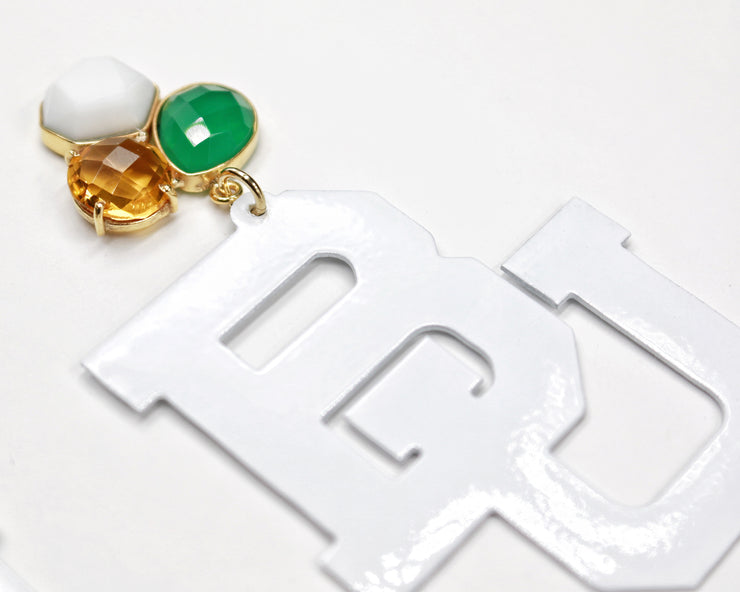 Baylor White BU Logo Earrings with 3 Gemstones