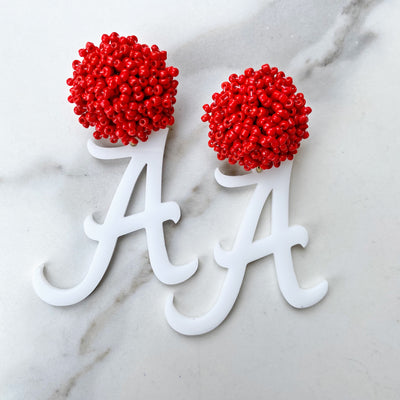 Alabama White Acrylic A with Red Beaded Top