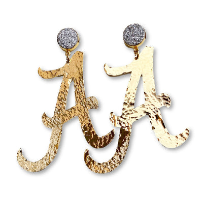 Alabama Gold A Earrings with Silver Druzy