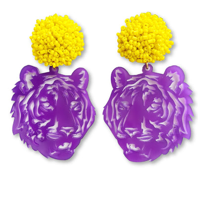 LSU Purple Acrylic Tiger with Yellow Beaded Top