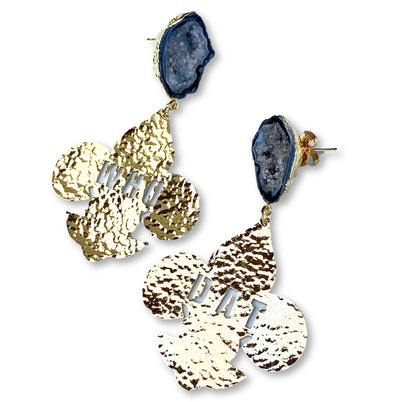 24k Gold Plated Who Dat Fleur de Lis Earrings with Black Geode