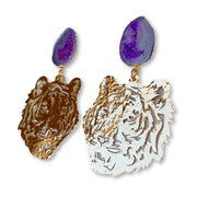 LSU Gold Tiger Earrings with Purple Geode