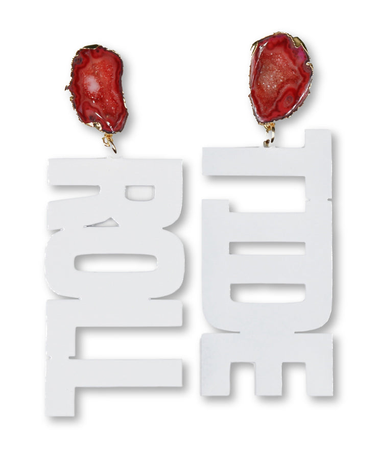 Alabama White ROLL TIDE Earrings with Red Geode