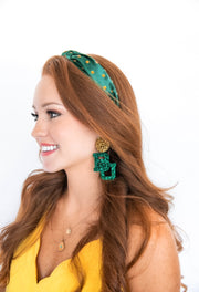 Team Colors Green Knotted Headband with Gold Crystals