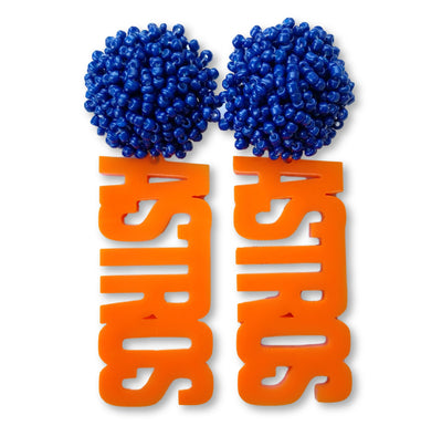 "Orange Acrylic ""ASTROS"" Earrings with Navy Blue Beaded Top"