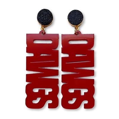 "Georgia Red ""DAWGS"" Earrings with Black Druzy"