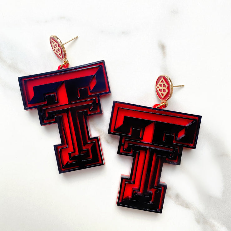 Texas Tech - Black TTU  Logo Earrings over Red with Red Logo Top