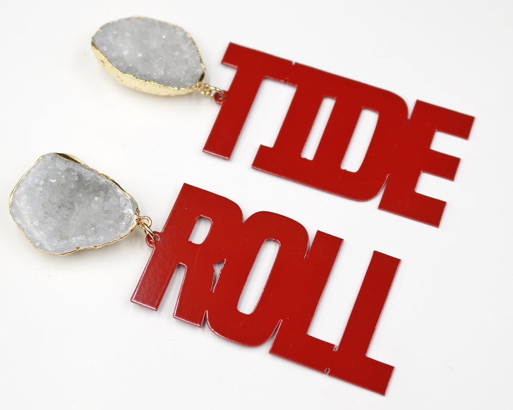 Alabama Crimson ROLL TIDE Earrings with White Geode