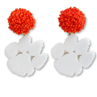 Clemson White Acrylic Paw with Orange Beaded Top