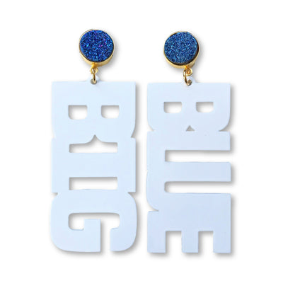 "Kentucky White ""BIG BLUE"" Earrings with Blue Druzy"