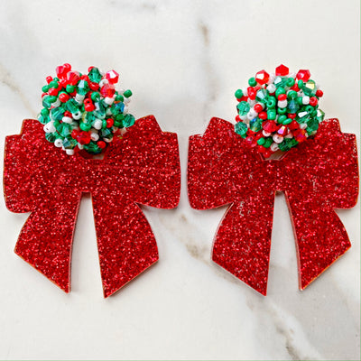 Christmas Party - Red Glitter Bow with Festive Beaded Top