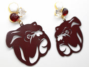 Mississippi State Maroon Bulldog Earrings with 3 Gemstones