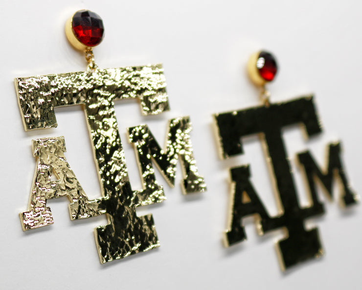 Texas A&M Gold Logo Earrings with Garnet