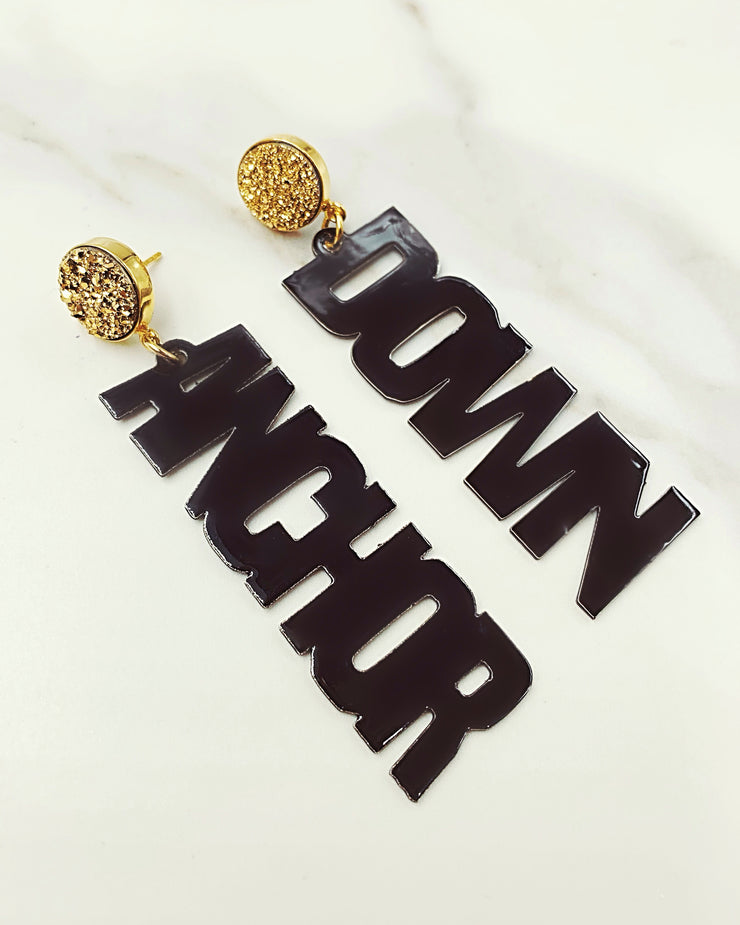 Vanderbilt Black ANCHOR DOWN Earrings with Gold Druzy