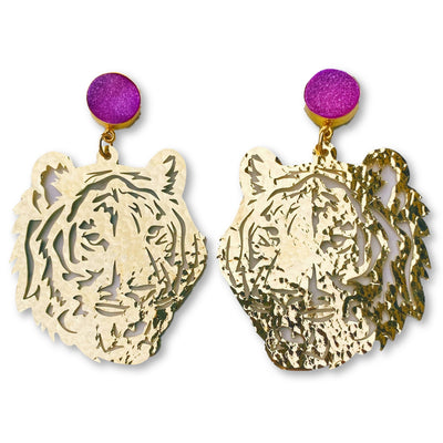 LSU Gold Tiger Earrings with Purple Druzy